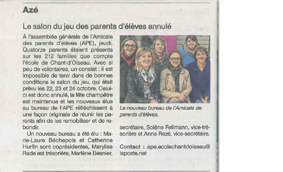 Article ouest france 06 10 2016